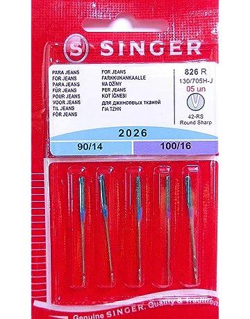 Singer 5 Original Coser Agujas 2026 Grosor 90/14 y 100/16 para Jeans