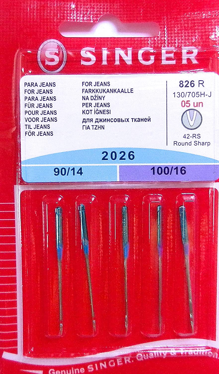 5Original Singer Sewing Machine Needles 2026 Thickness90/14& 100/16for Jeans 130/705H-J