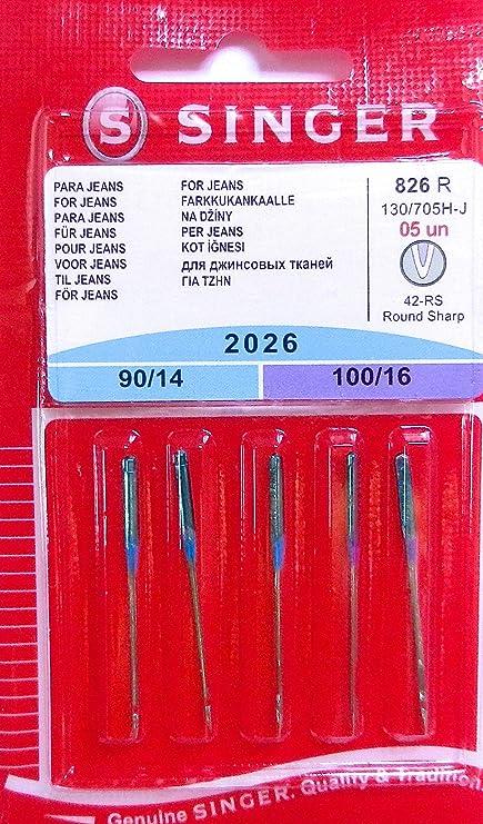 Singer 5 Original Coser Agujas 2026 Grosor 90/14 y 100/16 para Jeans 130/705 H de J