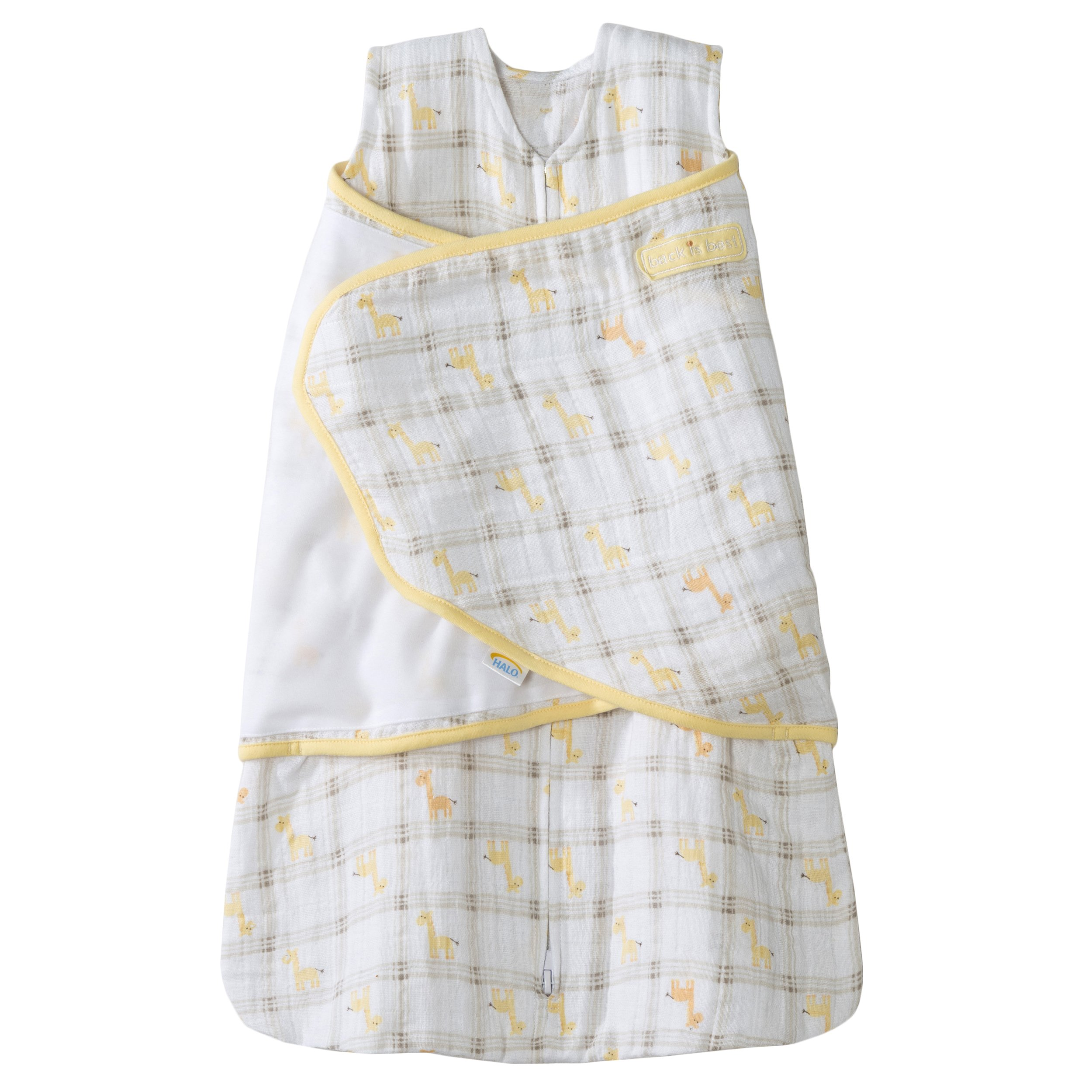 HALO 100% Cotton Muslin Sleepsack Swaddle, Giraffe Plaid, Small