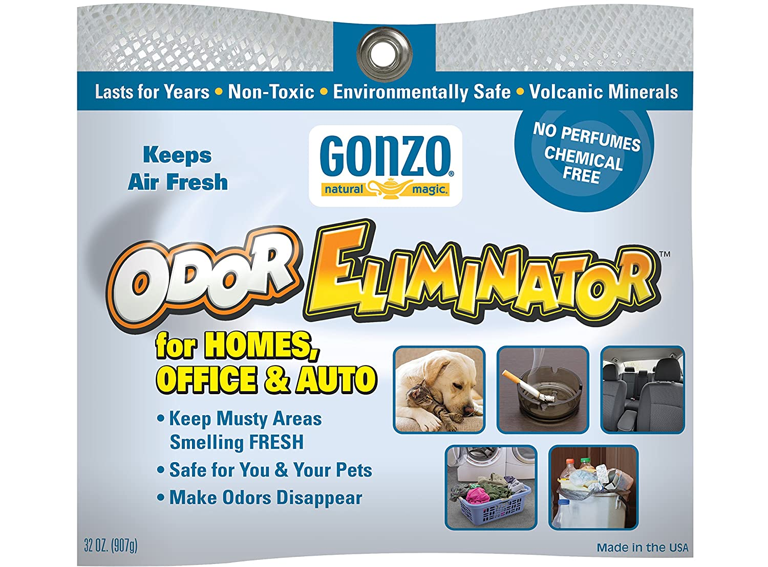 Gonzo Odor Eliminating Rocks 32 oz Pet Cigarette Smoke Paint Garbage Odor Eliminator for Car Home Gym Bag Basement Locker Room