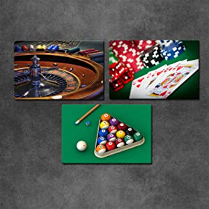 Artsbay 3 Pieces Canvas Wall Art Poker Billiards Darts Roulette Wheel Artwork Picture Cacino Game Poster Print Leisure Sport Painting for Game Room Pub Club Bar Decor Stretched