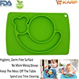 Placemat - Cute Snail Design Silicone Baby Placemat + Plate, 3 Compartments Plate Suitable For Kids, Babies, Toddlers - Strong Table Suction - Fits Most Highchair Trays - Microwave & Dishwasher Safe - Baby Tableware - Best Baby Shower Gift By KARP