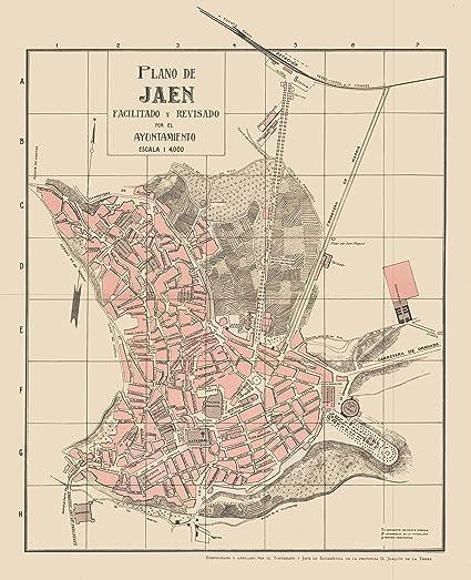 Map Of Spain Jaen.Amazon Com Old Spain Map Plano De Jaen Martin 1911 23 X 28 30