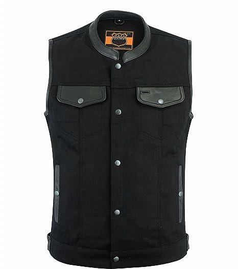 ab13440b764c Mens Black Leather Trim Denim Motorcycle Vest w   Snap Zipper Front Gun  Pocket