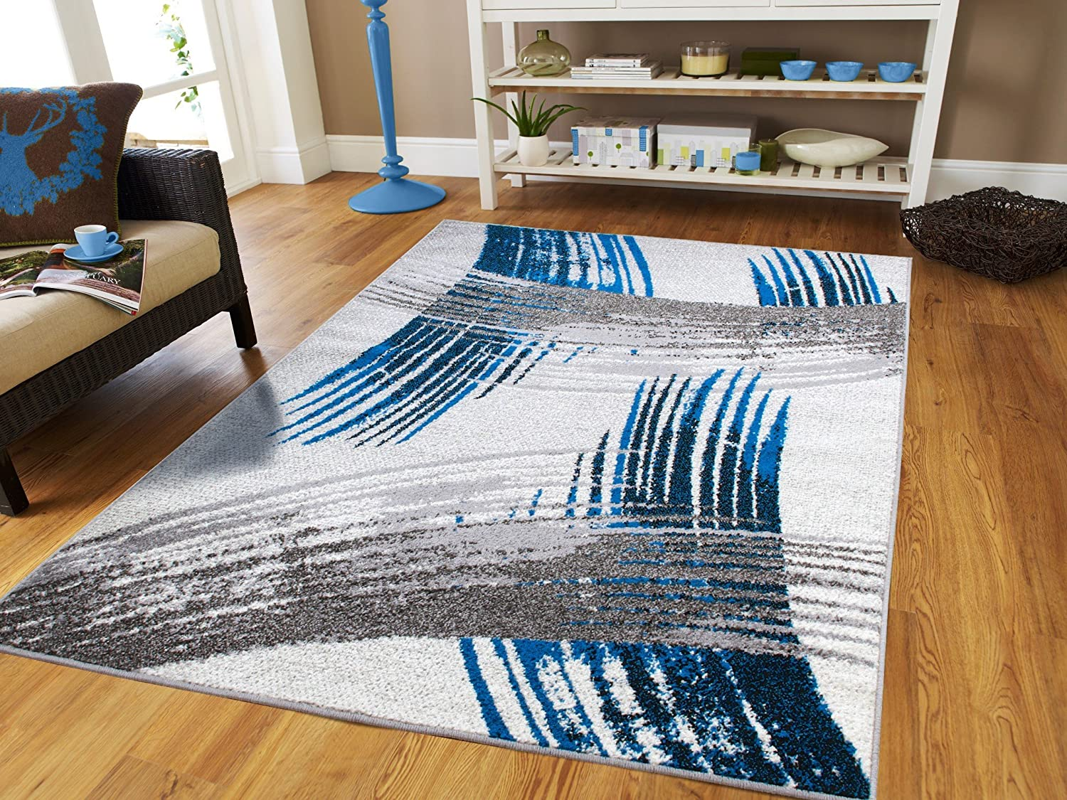 Amazon Luxury New Fashion Art Collection Contemporary Modern Rugs Splat Blue Black Cream Gray Large 8x11 Floor For Living Room And Kitchen 8x10