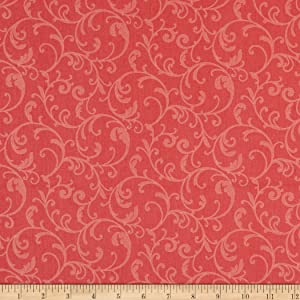 Benartex Classic Scrolls And Blenders Classic Scroll Coral Quilt Fabric By The Yard