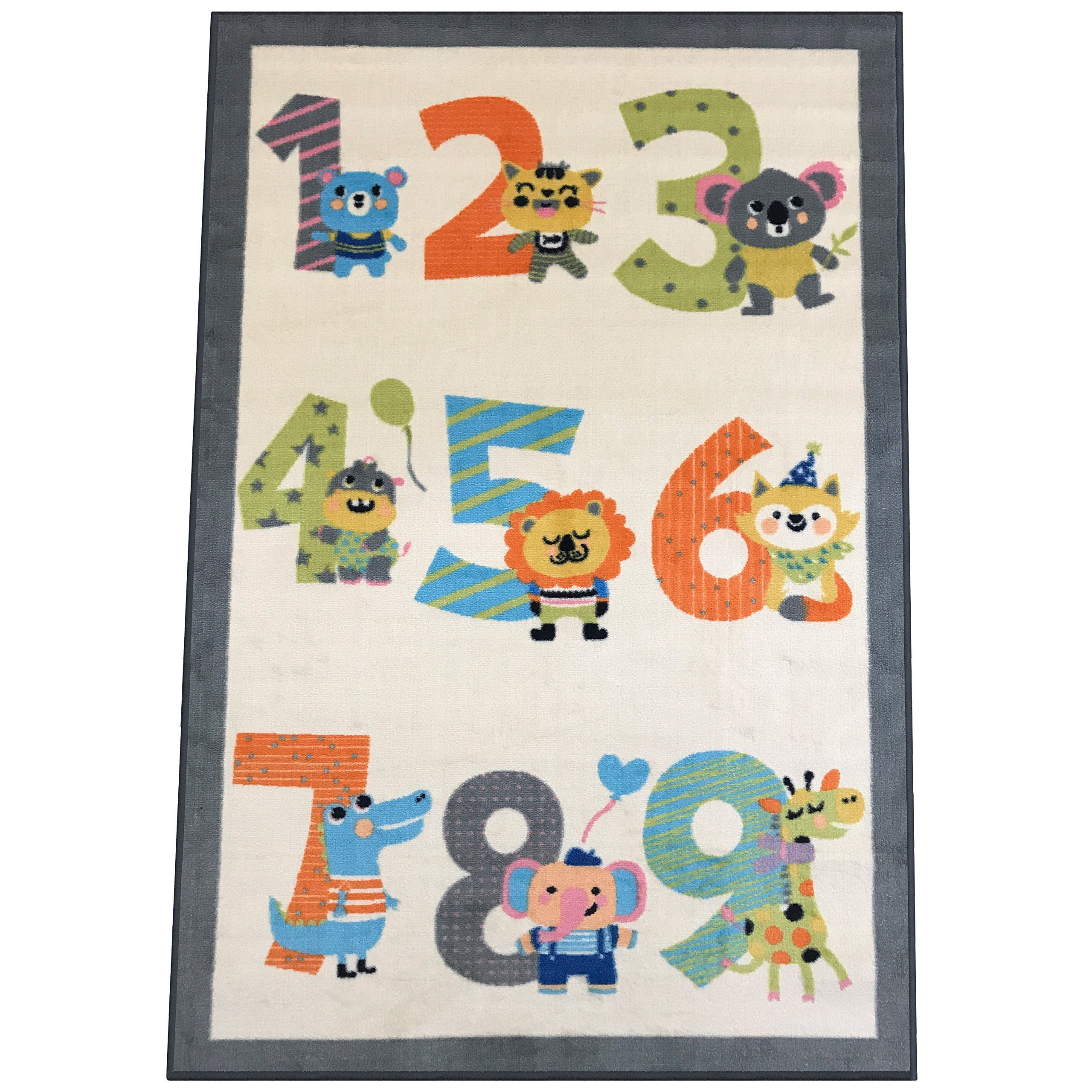 Silk & Sultans Agathe Collection Kids Numbers Design, Pet Friendly, Non-Skid Area Rug with Rubber Backing,5'x7'Ivory