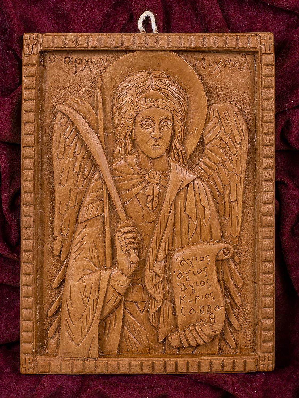 大天使ミカエル 手彫り アロマギリシャ正教 オーソド派 アイコン 飾り板 マウントアソスのピュア蜜蝋 マスティック お香 B07HP28JB4