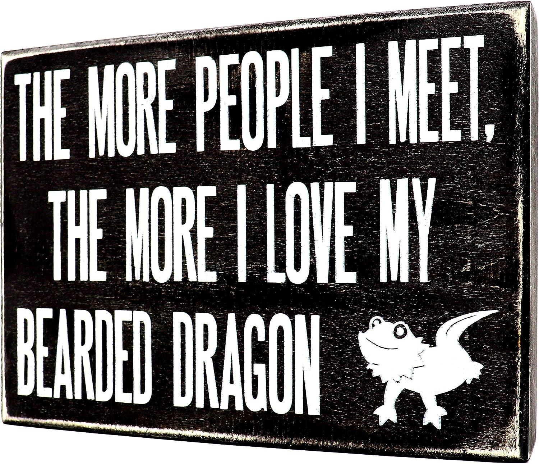 JennyGems - The More People I Meet, The More I Love My Bearded Dragon - Bearded Dragon Sign - Bearded Dragons Decor - Beardeddragon Accessory Gift - Terrarium & Habitat Signs
