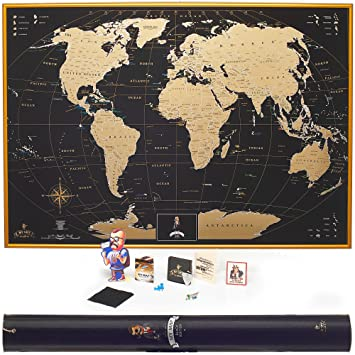 Amazon mymap gold scratch off world map wall poster with us mymap gold scratch off world map wall poster with us states 35x25 inches includes gumiabroncs Image collections