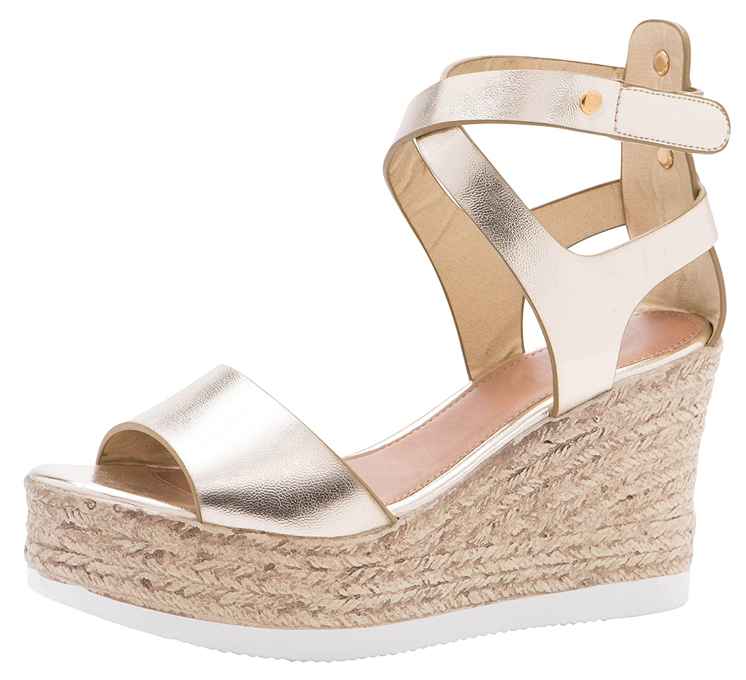 Champagne Pu Cambridge Select Women's Peep Toe Crisscross Ankle Strappy Espadrille Platform Wedge Sandal