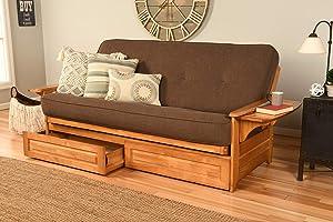 Kodiak Furniture Phoenix Full Size Futon in Butternut Finish with Storage Drawers, Linen Cocoa