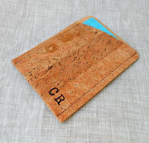 personalized card holder cork card wallet custom credit card wallet mens wallet - Personalized Card Holder