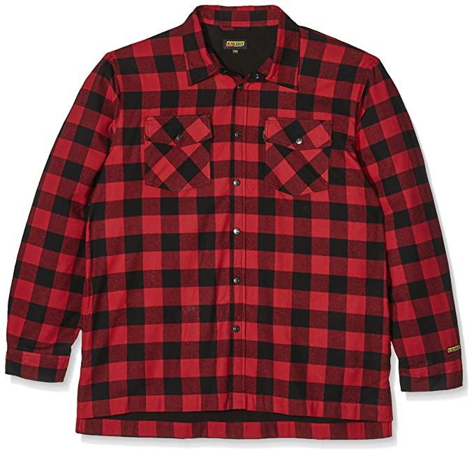 Amazon.com: Blaklader - Camisa de franela con forro rojo ...