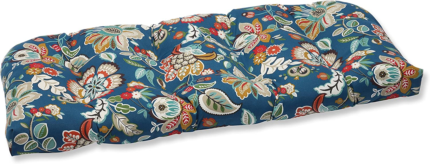 """Pillow Perfect 562940 Outdoor/Indoor Telfair Peacock Tufted Loveseat Cushion, 44"""" x 19"""", Blue"""