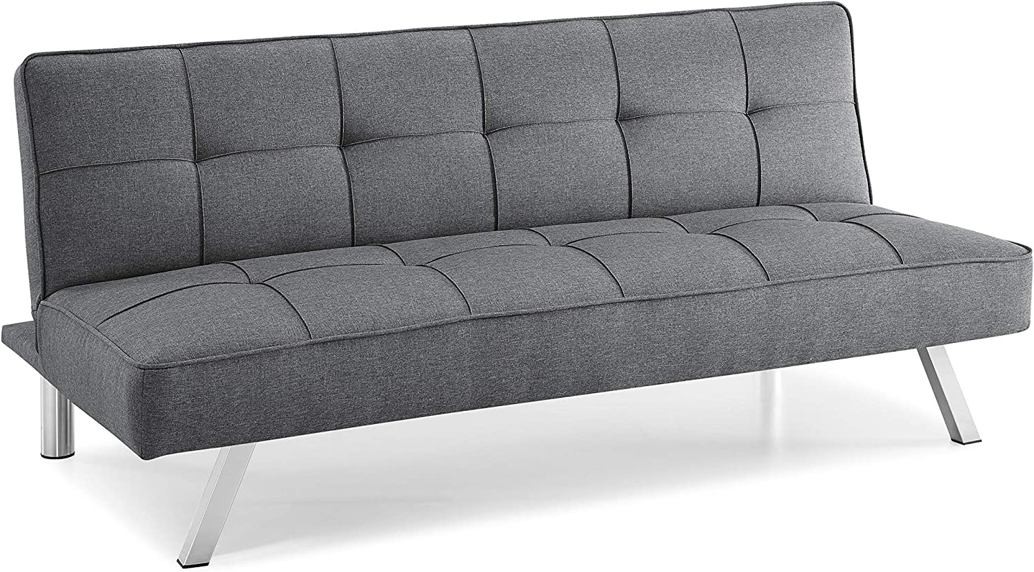Pearington Multifunctional Convertible Sofa, Couch, Lounger, Bed-Durable Metal Legs on Frame, Grey Futon,
