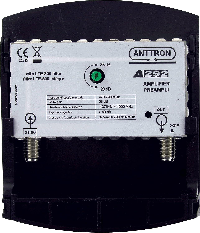 Anttron - Preamplificador Uhf ajustable con filtro Lte (4G)