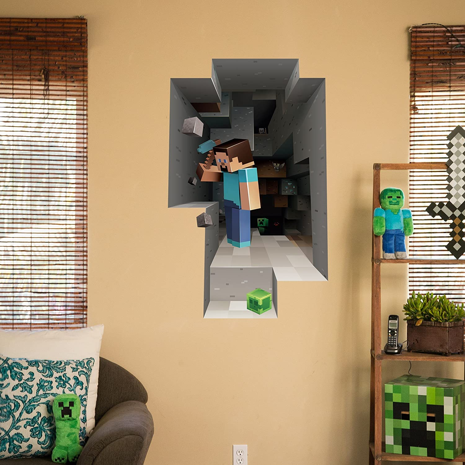 Amazon.com: Minecraft Digging Steve Wall Cling Decal: Home & Kitchen