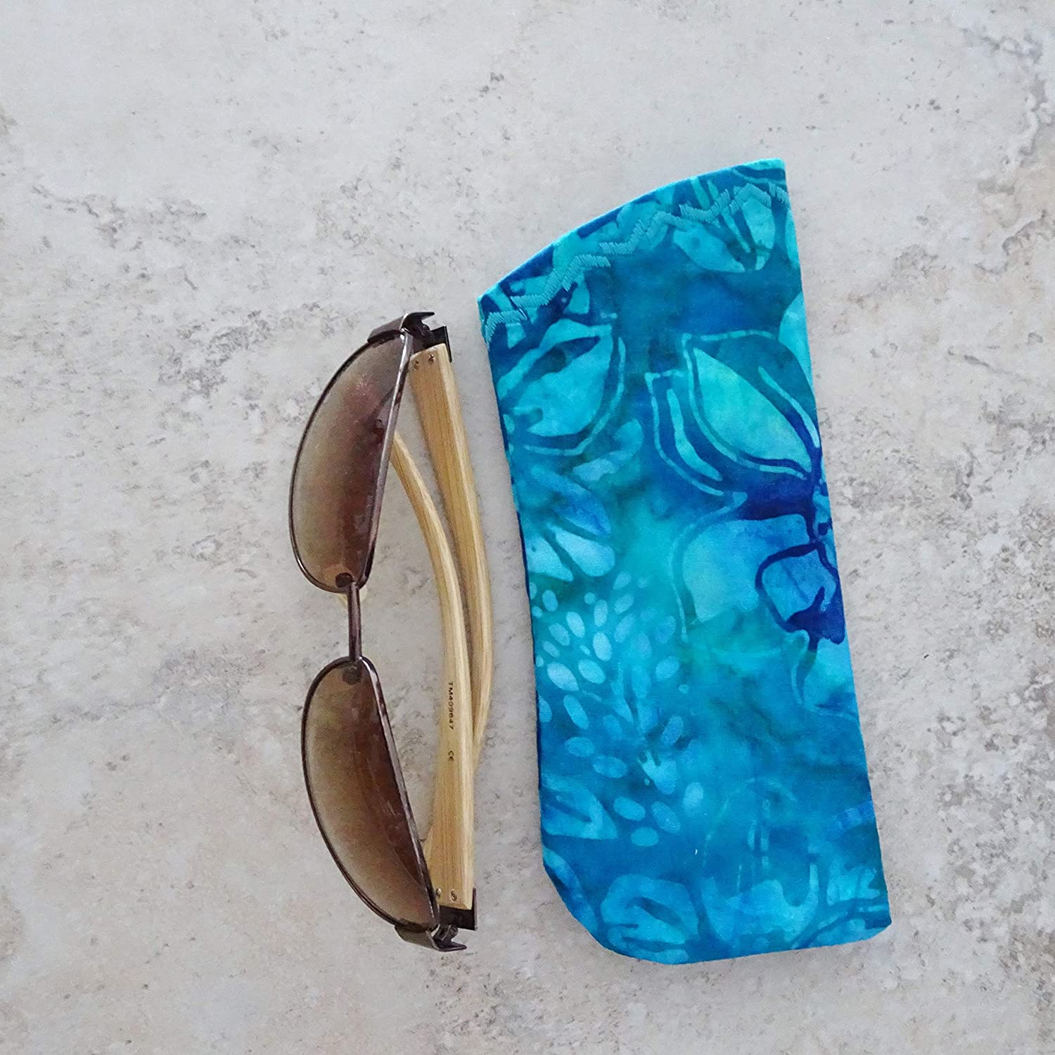 Handmade Products Cases Turquoise Batik Fabric Case for Glasses ...