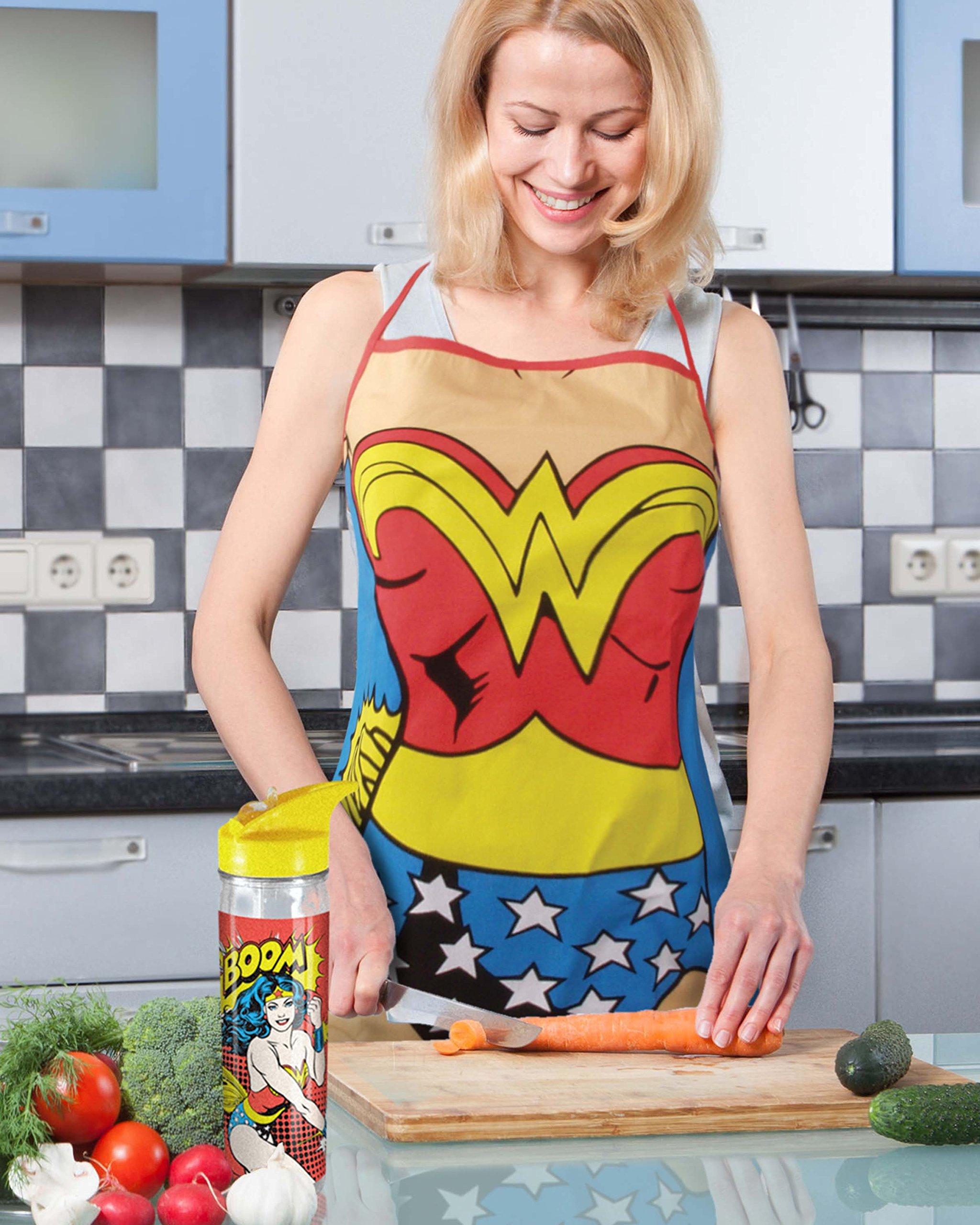 Spoontiques Wonder Woman Apron, One Size, Blue