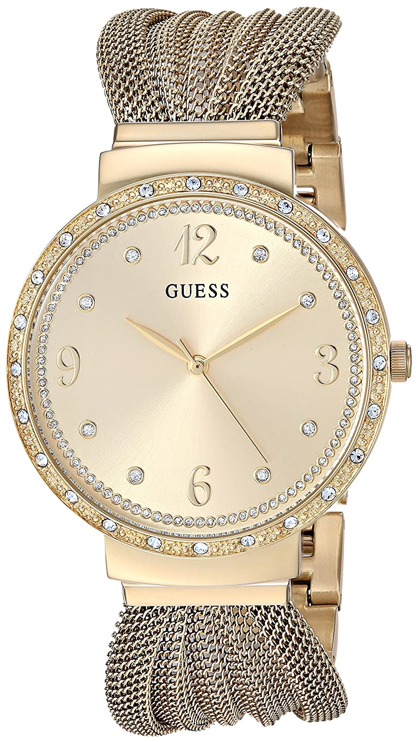 4988f0658c49 Amazon.com  GUESS Crystal Accented Gold-Tone Stainless Steel Mesh Bracelet  Watch. Color  Gold-Tone (Model  U1083L2)  Watches