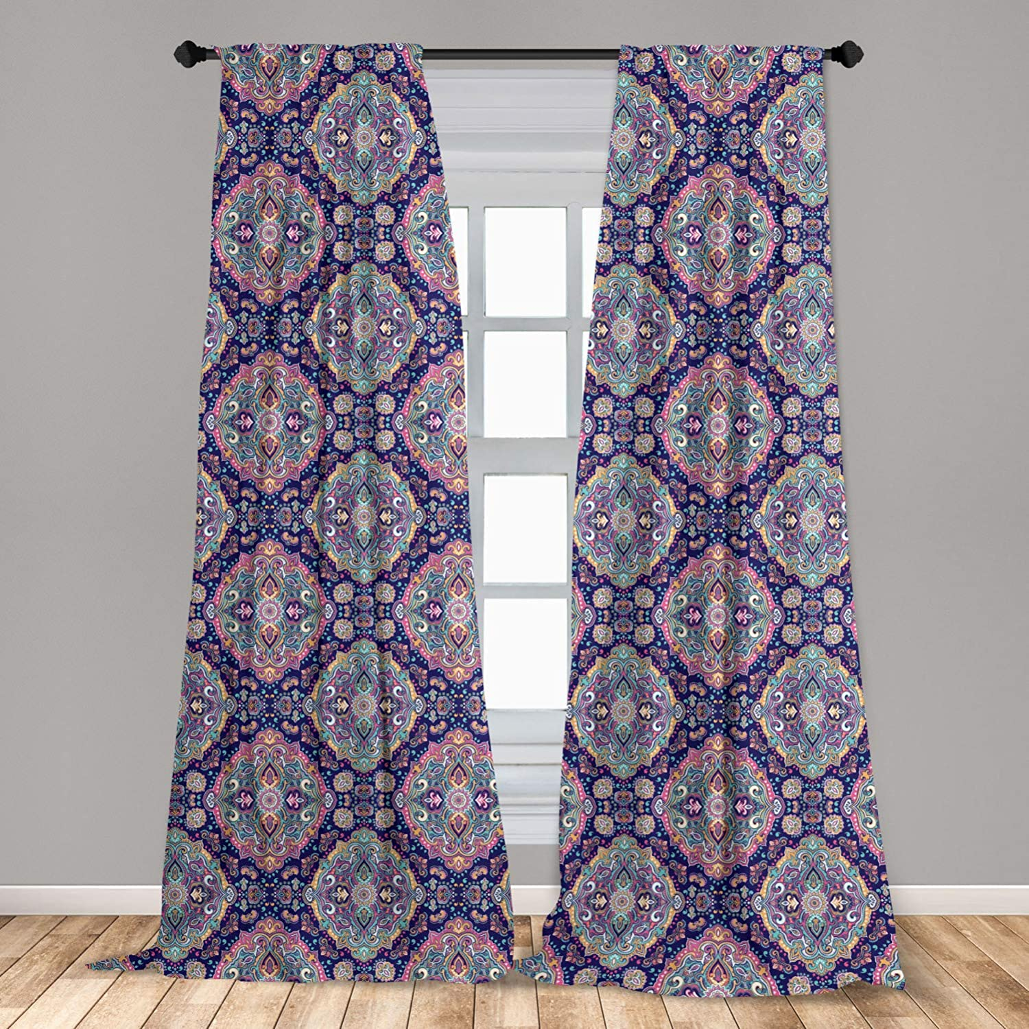 """Ambesonne Ethnic Curtains, Boho Style Mandala Colorful Spring Garden Themed Old Fashioned Tile, Window Treatments 2 Panel Set for Living Room Bedroom Decor, 56"""" x 84"""", Navy Pink"""