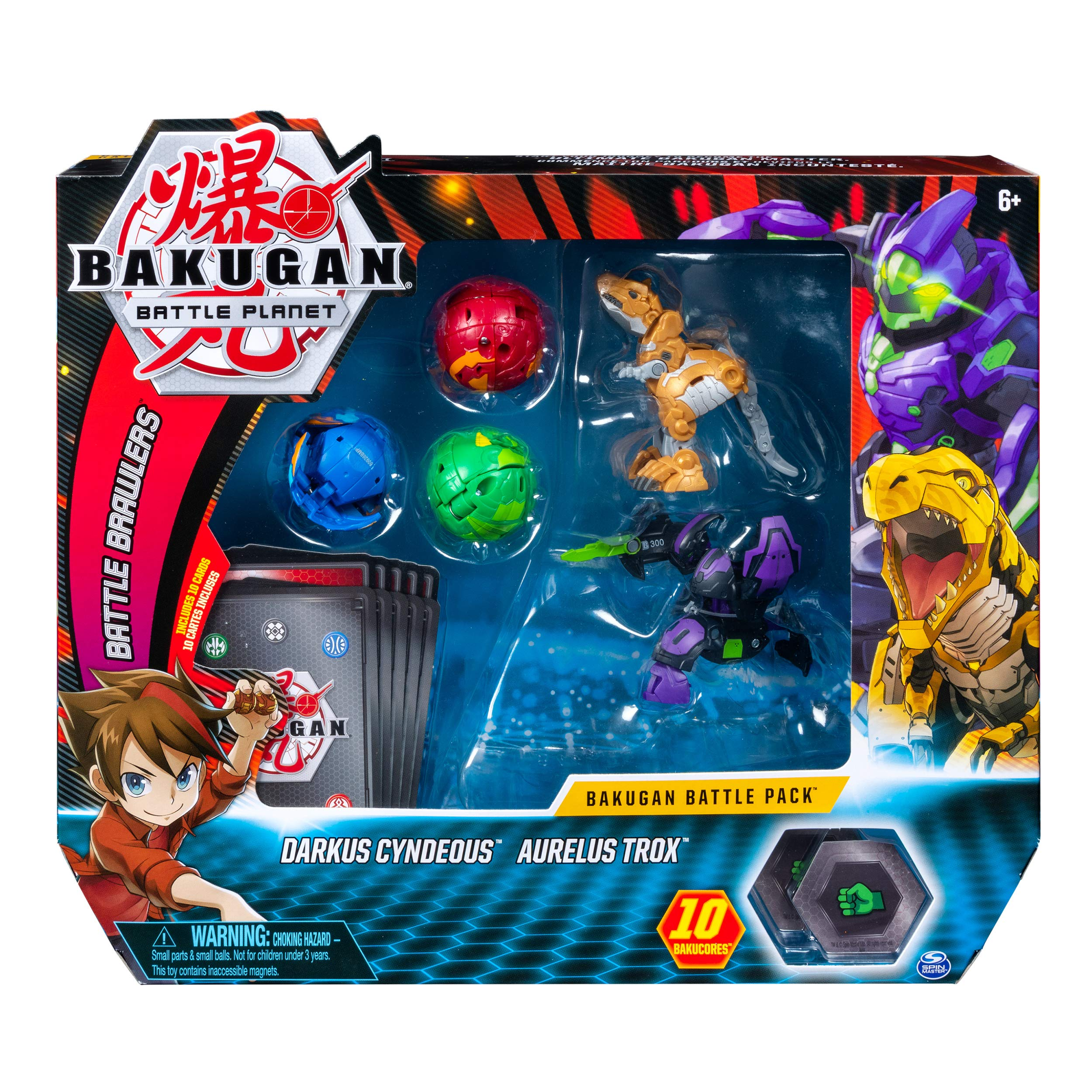 Bakugan, Battle Pack 5-Pack, Darkus Cyndeous and Aurelus Trox, Collectible Cards and Figures, for Ages 6 and Up by Bakugan