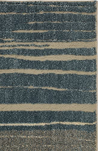 Mohawk Nomad Pagosa Blue Hi Low Ombre Striped Woven Shag Area Rug, 10 x14 , Blue