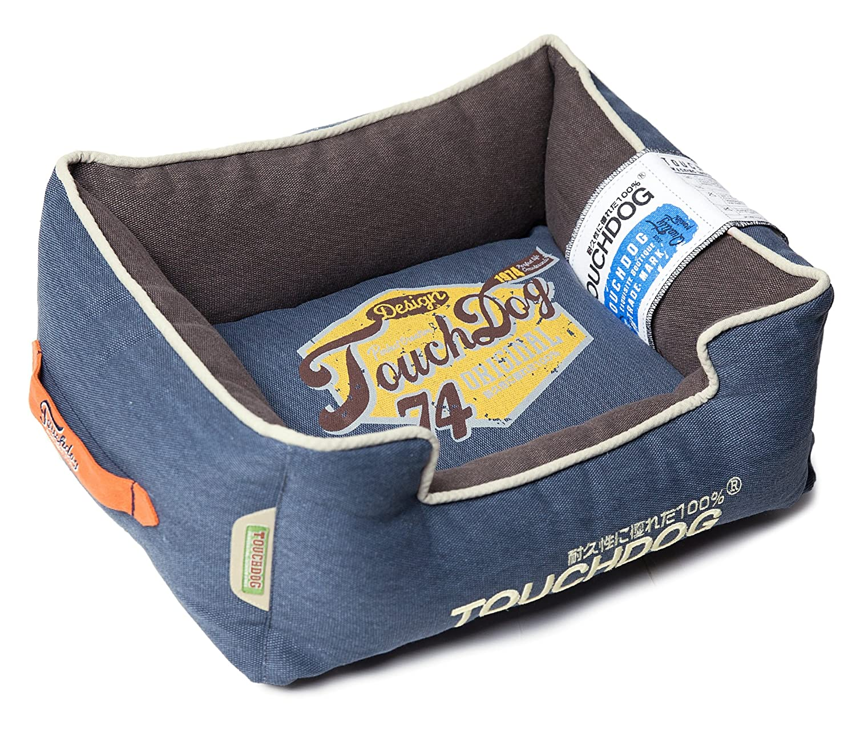 Midnight bluee, Dark Grey MDTOUCHDOG 'Sporty Vintage' Original Throwback Reversible Plush Rectangular Pet Dog Bed, Medium, Mint Green, Mud Brown