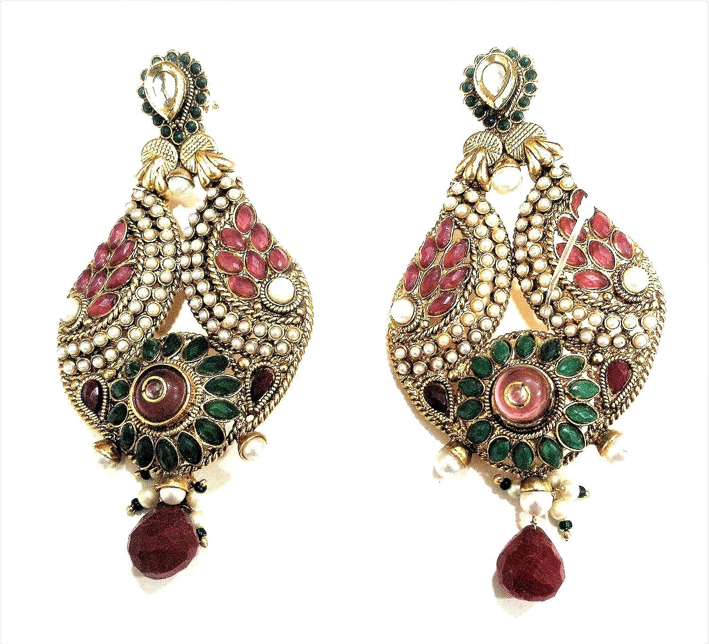 Indian Bollywood Ethnic Oxidised Fancy Party Wear Pearl Traditional Jhumka Jhumki Earrings for Girls /& Women