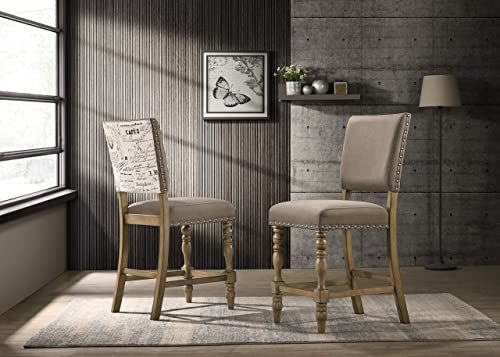 Roundhill Furniture Birmingham Script Printed Driftwood Finish Counter Height Dining Chair