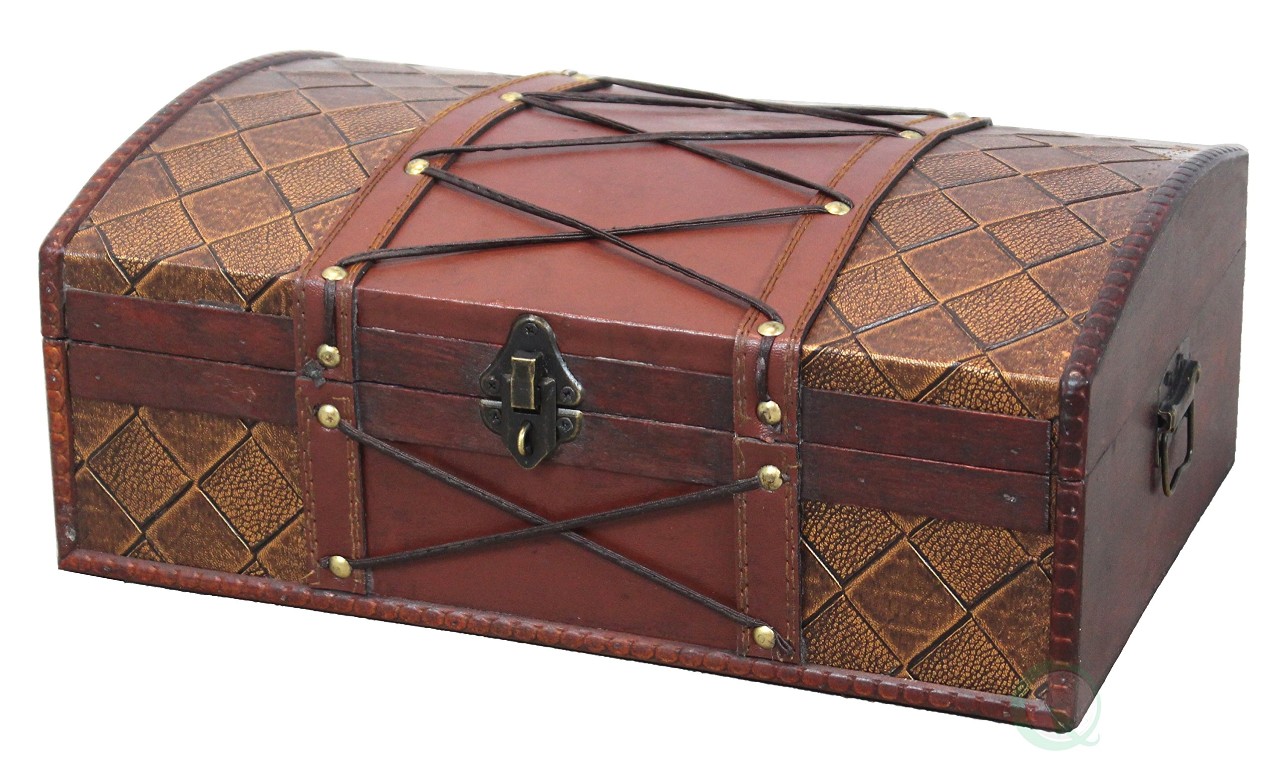 Vintiquewise(TM) Pirate Treasure Chest/Box with Leather X