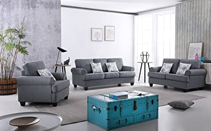 US Pride Furniture S5340 3PC Audrey Fabric Sofa Set 3 Piece, Grey