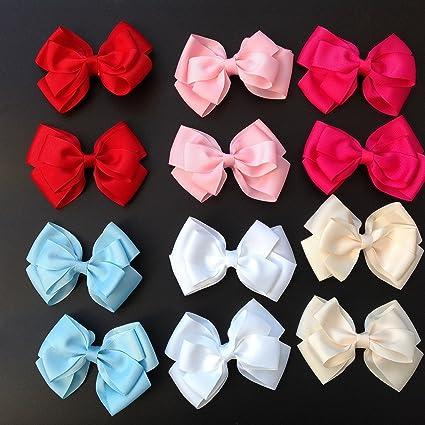 lazos de pelo con pinza para niñas 6 colores 12 unidades tamaño