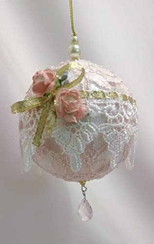 shabby chic ornament christmas decoration christmas tree ornament christmas ornament pink ornament