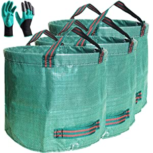 Standard 3-Pack 16 Gallons Garden Bags with Coated gardening gloves,Large Stand Bags Gardening Bags,Grow Pots,Reusable Trash Can for Plant,Leaf,Lawn and Yard Waste Bags Container,with 4 handles