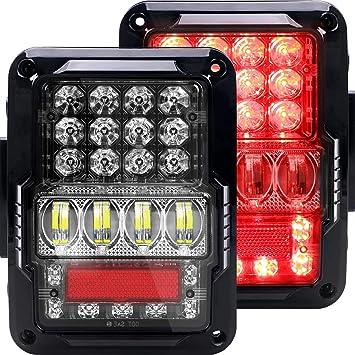 For 2007-2018 Jeep Wrangler JK JKU 2X Clear LED Tail Lights Brake Stop Rear Lamp