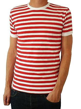 649e905bc180fd Herren rot und weiß gestreift Indie Mod Bretonisch T-Shirt  Amazon.de   Bekleidung