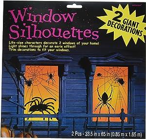 """Amscan Spider Window Silhouette 65"""" x 33 1/2"""", Black/Orange 459021"""