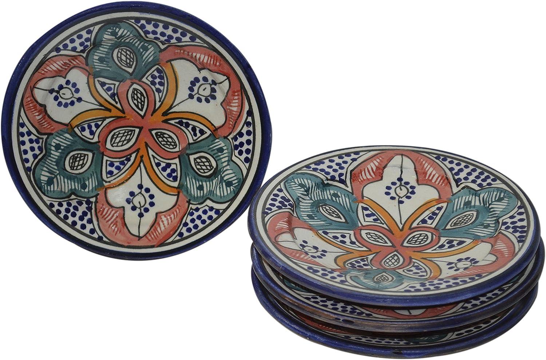 Moroccan Ceramic Plates Handmade Appetizer Tapas Serving Set Of 4 plates