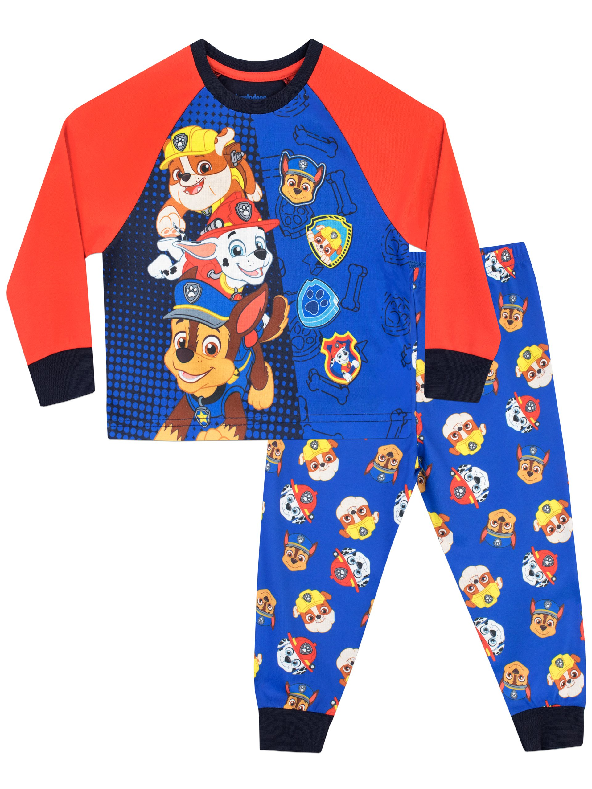 Paw Patrol Boys' Chase Marshall & Rubble Pajamas Size 8 Multicolored
