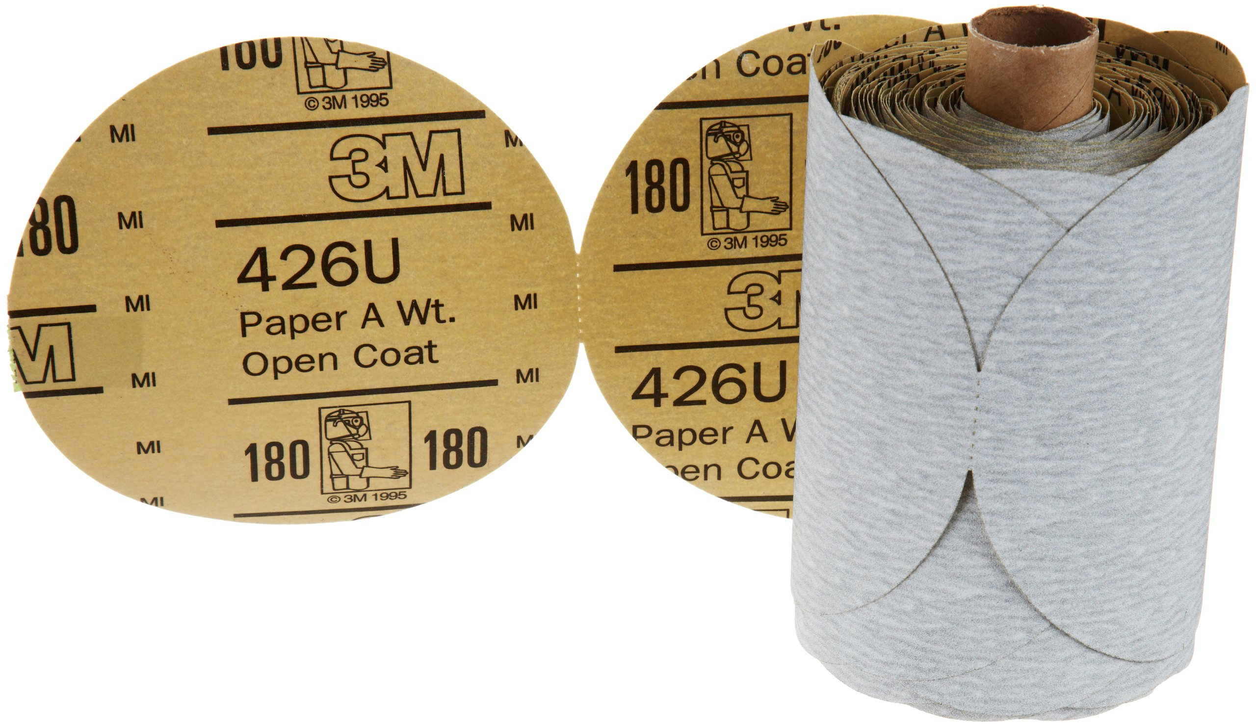 3M Stikit Paper Disc Roll 426U, Silicon Carbide, 5'' Diameter, 180 Grit, Gray (Roll of 175)