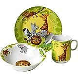 Ritzenhoff & Breker 006940 - Set di stoviglie per bambini, 3 pezzi, motivo: animali della giungla
