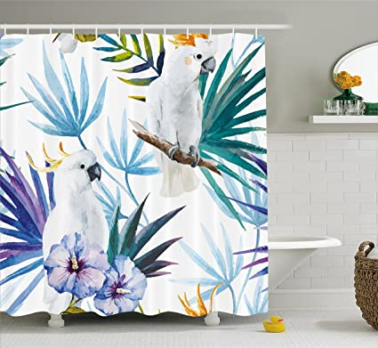 Ambesonne Tropical Shower Curtain Watercolor White Parrot Birds On Palm Tree Branches Leaves Exotic Nature