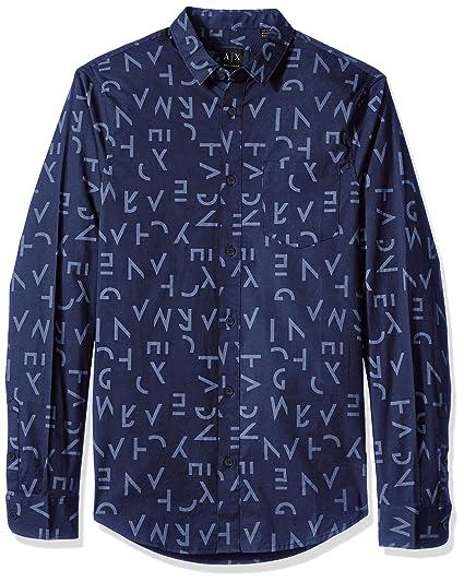98c9564d A X Armani Exchange Men's Slim Fit Letter Print Long Sleeve Button Down,  Segments