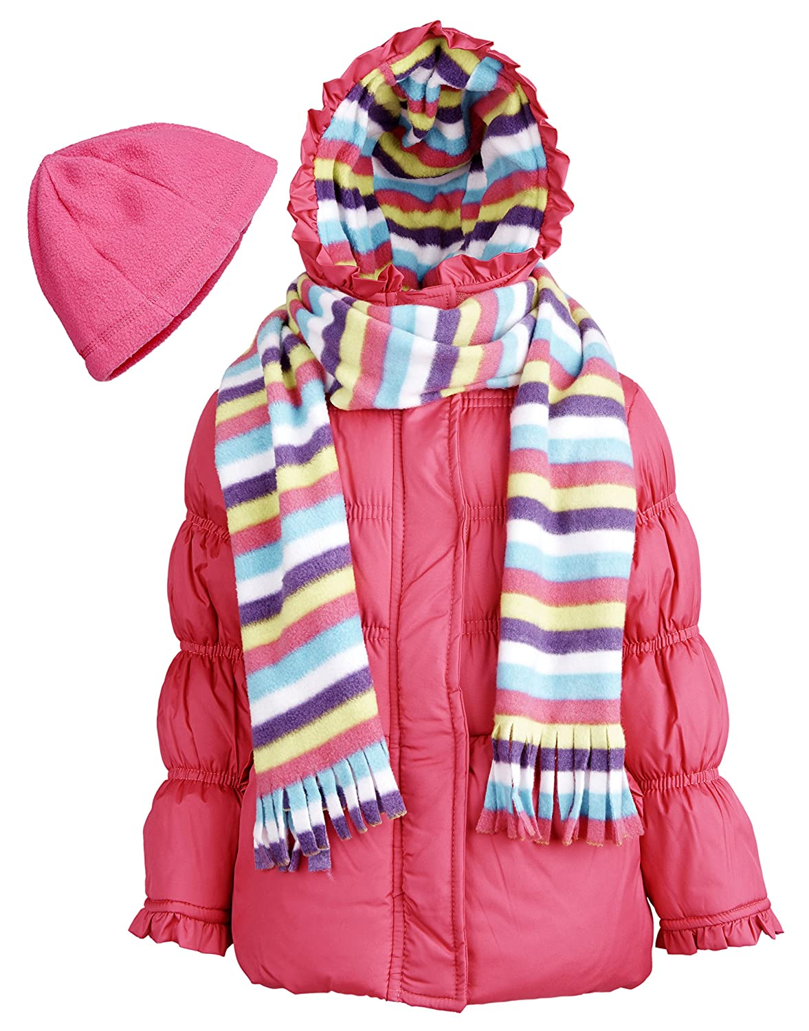 Pink Platinum Little Girls Hooded Winter Puffer Coat with Fleece Hat and Scarf