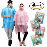Rain Poncho for Adults - 4 Pack of PEVA Tear Resistant Thick Ponchos for Men or Women with Drawstring on Hood by Viper Gear - Disposable or Reusable Emergency Rain Gear