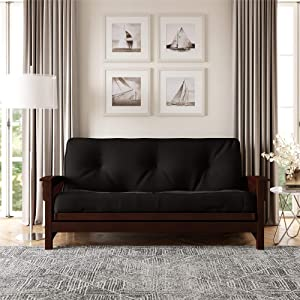 DHP 8-Inch Independently Encased Coil Futon Mattress, Full Size, Black, Frame Not Included
