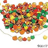 Fun Express 500 Fabulous Foam Thanksgiving Harvest Mix Bead Assortment - Turkey Fall Leaves Pumpkin Art & Craft Supplies & Kids' Beading Supplies by FE